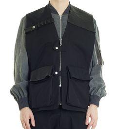 Damir Doma men s black WELRO waistcot with leather details.  lesmarket   menswear  outerwear b647735cf14e3