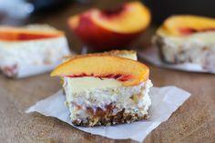 Peach Almond Yogurt Cheesecake Bars with gluten free almond crust | naturally…