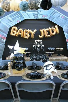 Check out this awesome Star Wars baby shower! Love the balloon decorations backdrop! See more party ideas and share yours at CatchMyParty.com