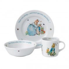 Pottery & China Bright Wedgwood Peter Rabbit Christening Set Bowl/cup/plate/money Box