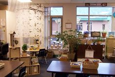 beautiful classroom love the use of plants and baskets