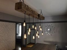 This reclaimed timber fixture comes with reclaimed wood top box (ceiling cap) and black hanging chains. Farmhouse Lighting, Farmhouse Light Fixtures, Rustic Lighting, Modern Lighting, Rustic Farmhouse, Farmhouse Ideas, Lighting Ideas, Industrial Chandelier, Industrial Light Fixtures