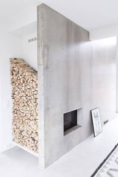 Minimalist Home Office Work Stations minimalist interior grey floors.Minimalist Home Architecture Apartments. Concrete Fireplace, Home Fireplace, Fireplace Design, Fireplace Ideas, Fireplace Candles, Craftsman Fireplace, Tall Fireplace, Fireplace Bookshelves, Freestanding Fireplace