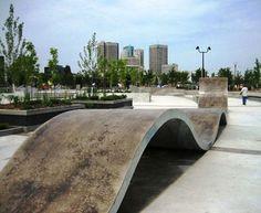 "The ""Magic Carpet"" or ""Ribbon"" at The Plaza at the Forks -- Winnipeg, MB Urban Furniture, Street Furniture, Skateboard Ramps, Outdoor Playground, Polished Concrete, Urban Landscape, Landscape Design, Skate Park, Urban Design"
