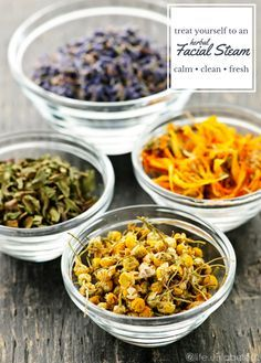herbal facial steam - lavender, chamomile, calendula, and peppermint