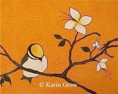 Orange Chickadee  and Cherry Blossoms family series by karingrow, $18.00