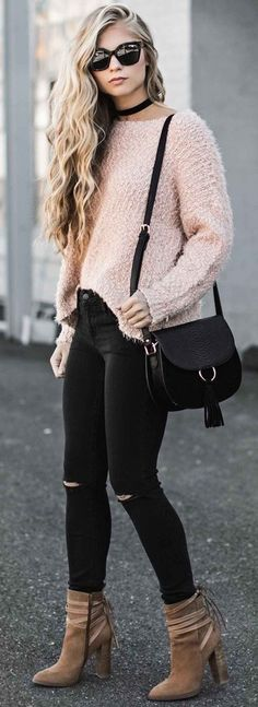 women's blush fuzzy sweater with black skinny jeans, a choker, oversized sunglasses and a handbag. #stylish #trends #outfits