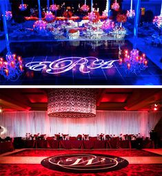 Light-And-Decoration for Dancing Floor : Display bride and groom monogram with lighting on dance floor.