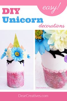 DIY unicorn decoration is for a bedroom. This fun unicorn craft was easy to make. See step by step with images for how to upcycle a can into a unicorn. Grab the instructions and getting making your own magical unicorn. Unicorn Rooms, Unicorn Room Decor, Beach Crafts, Fun Crafts, Unicorn Crafts, Glitter Cards, Magical Unicorn, Cardboard Crafts, Upcycled Crafts