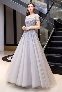 Brilliant Sequins Embellished A-Line Pageant Dresses - LeShine Prom Dresses Long With Sleeves, A Line Prom Dresses, Party Wear Dresses, Pageant Dresses, Ball Dresses, Bride Dresses, Princess Prom Dresses, Long Gowns, Sleeved Prom Dress