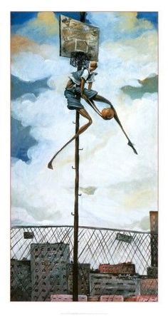 No Limit by Frank Morrison is an African-American work of art of a man about to dunk a basketball with his head nearly touching the hoop. African American Art, African Art, American History, Frank Morrison Art, Ernie Barnes, Architecture Design, Black Art Pictures, Beautiful Pictures, Basketball Art