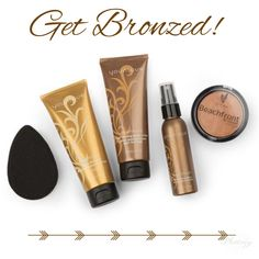 Beautiful bronzing products! Applicator, temporary bronzer lotion, bronzing lotion and spray that last 5-8 days and our daily bronzer powder! #younique #bronzer #beauty #makeup #falsetan