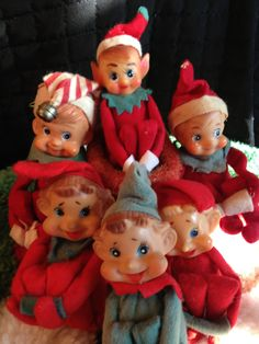 Vintage Christmas Elves. I have a bunch of these that I hide all over the house at Christmas. Reminds me of Christmas at my Gram's =)