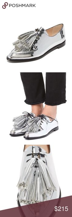 BRAND NEW Loeffler Randall silver oxfords Jasper tassel oxfords - comes with shoe bag. Tassels are removable! Loeffler Randall Shoes Flats & Loafers