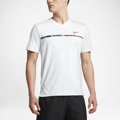 Nike NikeCourt Dry Challenger Men's Short Sleeve Tennis Top Size Small (White) - Clearance Sale