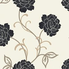 Arthouse Opera Lauren Black & Cream Floral Wallpaper | Departments | DIY at B&Q