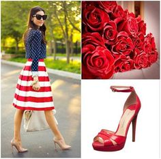 Red, White & Blue...show some pride #roses #dress #patriot #july4th #shoes #heels #footwear
