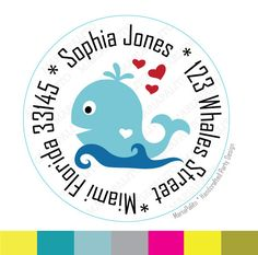 New to Mariapalito on Etsy: Whale Address Label Whale Stickers Round Stickers tags whale baby shower Labels or Envelope Seals Nautical stickers easy to peel A740 (6.00 USD)