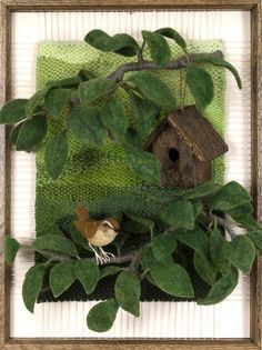 Wren's House - by Martina Celerin: dimensional weaving using reclaimed and recycled materials. Weaving Projects, Weaving Art, Loom Weaving, Tapestry Weaving, Hand Weaving, Easy Yarn Crafts, Diy And Crafts, Wet Felting, Needle Felting