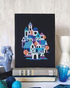 Blue Village Cross Stitch Pattern