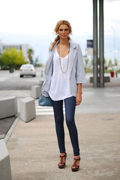 White baggy shirt, grey cotton blazer and brown heels