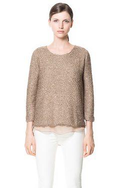 Glitter camel knit #zara