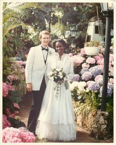 #WeddingPhotoFlashback...Michael & Valerie - on their wedding day (and graduation day!) in 1981.
