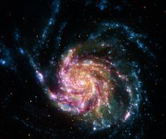 Mit einem Durchmesser von etwa 170.000 Lichtjahren ist diese Galaxie fast zweimal so groß wie die Milchstraße.  Farblich codiert von Röntgenstrahlen bis Infrarotwellenlängen (von hohen zu niedrigen Energien) wurden die Bilddaten mit Chandra (violett), dem Galaxy Evolution Explorer (blau), Hubble (gelb) und Spitzer (rot) aufgenommen. M101 oder Feuerradgalaxie ist etwa 25 Millionen Lichtjahre entfernt.  http://www.starobserver.org/ap120713.html  http://apod.nasa.gov/apod/ap120713.html