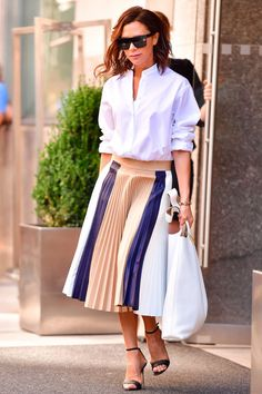 Despite having a newfound affection for trainers, Beckham still remained our number one workwear inspiration. Her pleated skirts, smart shirts and tailored co-ords all continued to inspire our choice of officewear.