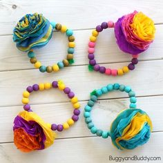 These tissue paper flower bracelets are an easy craft for kids to make and turn out so colorful and festive. They would make sweet gifts for Mom on Mother's Day (especially for a Mother's Day tea in the classroom) and would also be fun for Cinco de Mayo. Follow our Crafts for Kids Pinterest board! …
