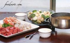 Fondue Night (mojo fondue broth & dipping sauces - gorgonzola port and green goddess dip)