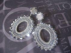 Beadwork Post Earrings  SILVER GODDESS V Hoop by WorkofHeart