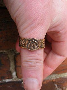 Awen Druid Bronze Ring Broad Handmade by the Green Man