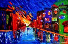 "NIGHT COUPLE cityscape rain original oil painting Impressionism 24x36 "" MALORCKA #Impressionism"