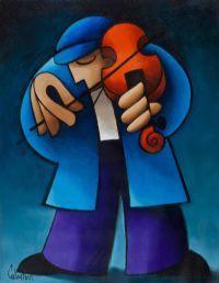 The fiddler - George Callaghan - Irish artist Mural Painting, Artist Painting, Watercolor Paintings, Cubist Art, Abstract Art, Jazz Art, Whimsical Art, Cartoon Art, Art Pictures