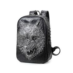 Fair price Fashion 3d Wolf Head Leather Men Backpack Laptop Backpack With Rivets Mochila Masculina Backpacks For Children School Bags Sac A just only $56.69 with free shipping worldwide  #backpacksformen Plese click on picture to see our special price for you