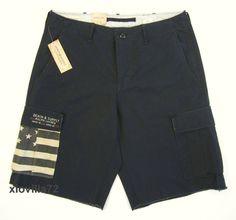 Mens Polo Ralph Lauren DENIM SUPPLY Military USA Flag Ripstop Black Cargo Shorts | Clothing, Shoes & Accessories, Men's Clothing, Shorts | eBay!