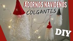 DIY: Adornos Navideños 2017 | EASY CHRISTMAS ORNAMENTS 2017 | Hanging Ch... Easy Christmas Ornaments, Christmas Gnome, Simple Christmas, Christmas Stockings, Christmas Crafts, Navidad Simple, Navidad Diy, Diy Adornos, Gnome Tutorial