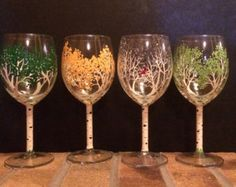 Handpainted Wine Glasses 4 Seasons of the Aspen by 4SeasonsArt4You