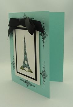 handmade greeting card ... Eiffel Tower .... elegant look in aqua and cream with black accents ... bow, mat and decorative ornaments ... Stampin' Up!