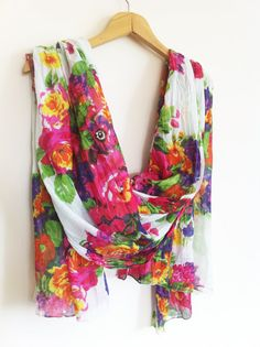White Scarf With Colorful Flowers / by AnatolianAccessories, $44.90