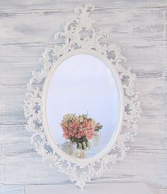 """FRENCH COUNTRY MIRRORS For Sale Oval Shabby Chic Mirror 33""""x21"""" Ornate Mirror Decorative Wall Mirrors Teal Framed Vanity Mirror. $146.00, via Etsy."""