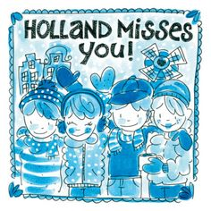 "Delftsblauwe winterkaart met ""Holland misses you"".- Greetz"