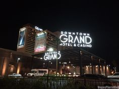 Downtown Grand Sign at Night - Vegas Photo Blog