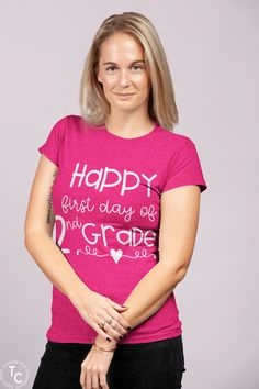 """Celebrate the first day of school with this """"Happy First Day of 2nd Grade"""" teacher tee. This is the perfect shirt for the first day of school because it's both cute and comfortable. This is a perfect gift for the second grade teachers in your life too! 2nd Grade Teacher T-shirt"""