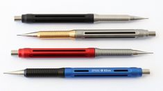 The Spoke Model 4 pencil is the first 2 piece Spoke Pencil Design. The two machined pieces allow for multiple materials, grip diameters, and cool color combina Art Supplies, Office Supplies, Good Color Combinations, Pencil Design, Pens And Pencils, Pencil And Paper, Mechanical Pencils, Writing Instruments, Fountain Pens