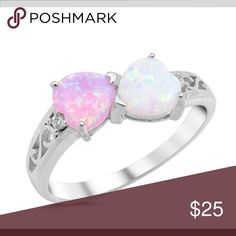 Heart White Pink Simulated Opal Promise Ring New Sterling Silver Band Size 10 – Jewelry from Selena Custom Promise Rings, Opal Promise Ring, Heart Promise Rings, Heart Rings, White Opal Ring, Heart Shaped Rings, Pink Opal, Opal Rings, Beautiful Rings