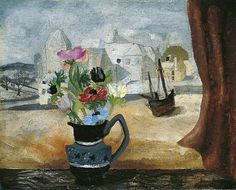"Christopher Wood, ""Anemones in a Cornish Window""."