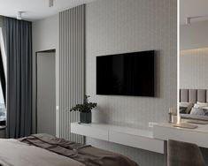 Living Room Tv Unit Designs, Ceiling Design Living Room, Hotel Room Design, Modern Bedroom Design, Home Interior Design, Modern Tv Room, Modern Design, Bedroom Tv Wall, Bedroom Decor