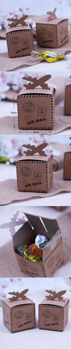 50pcs/lot 6cm*6cm Vintage Kraft Paper Candy Box Air Mail Wedding Favor Boxes for Travel Theme Wedding Decoration Mariage  $20.99